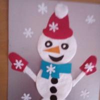 Мастер-класс «Снеговик из картона, бумаги и ватных дисков»