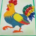 Дидактическая игра по сенсорному развитию и развитию речи в младшем дошкольном возрасте «Раскрась петушка»