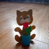 Изготовление поделки «Кошка с вазой» для 2,3 класса