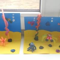 Фотоотчёт кружковой работы по лепке из пластилина «Морское дно»