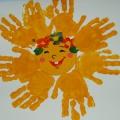 Конспект занятия по рисованию с использованием нетрадиционной техники— рисования ладошками «Солнышко лучистое»