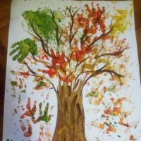 Конспект коллективной работы для ясельной группы «Осеннее дерево» (рисование ладошками и пальчиками)