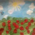 Фотоотчет изобразительной деятельности в летний период во второй младшей группе «Маковое поле» (аппликация)