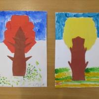 Аппликация симметричная силуэтная с элементами рисования «Осеннее дерево»