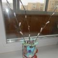 Поделка из бросового и природного материала «Веточки вербы в вазе»