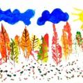 Нетрадиционные техники рисования. Изучаем технику «Монотипия»! Изображаем осенний лес с помощью природного материала.