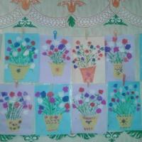 «Цветы для мамы» к 8 марта с применением нетрадиционных техник рисования