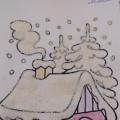 Зимние заснеженные объёмные домики из манной крупы.