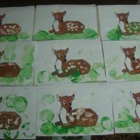 Конспект ОД по познавательному развитию младших дошкольников с элементами нетрадиционного рисования «Малыш оленёнок»