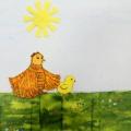 Аппликация «Цыплята на лугу» (вторая младшая группа)