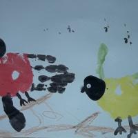 Конспект НОД по рисованию в старшей группе «Зимующие птицы» с использованием нетрадиционной техники рисования ладошкой