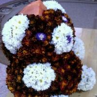 Поделка из природного материала «Винни-Пух из тыквы и цветов»