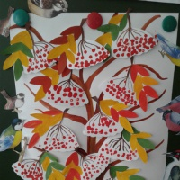 Конспект НОД по нетрадиционному рисованию в средней группе «Ветка рябины». Ознакомление с зимующими птицами