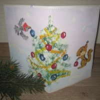 Детский мастер-класс «Новогодняя открытка» с использованием нетрадиционных техник рисования