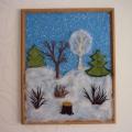 «Зимняя картина» (из ткани). Знакомство детей с приемами работы с тканью