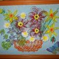 «Корзинка с цветами» в технике квиллинг