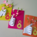 Подарочная открытка к 8 Марта «Веточку цветущую бабушке дарю»