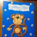 Открытка в технике пластилинографии «Веселая обезьянка». Мастер-класс