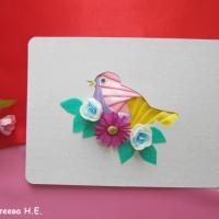 Мастер-класс изготовления открытки «Птичка на ветке» в технике айрис фолдинг