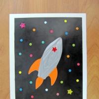 Мастер-класс открытки ко Дню космонавтики в технике «айрис фолдинг» «Летит, летит ракета!»
