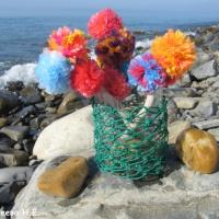 Изготовление элементов для летнего оформления из природного, бросового материалов и ниток «Цветы в вазе»