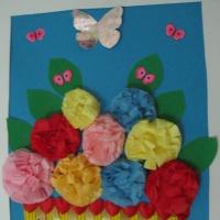 Аппликация «Цветы в корзине»