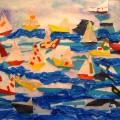 «Кораблики в море». Коллективная работа с детьми (средняя группа)