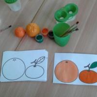Фотоотчет занятия по рисованию «Апельсин и Мандарин»
