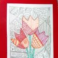 «Поздравительная открытка к 8 марта». Рисование в стиле «Zentangl»