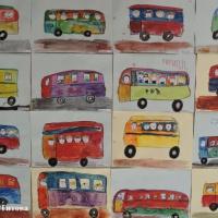 Фотоотчет по рисованию автобуса акварельными красками с элементами аппликации