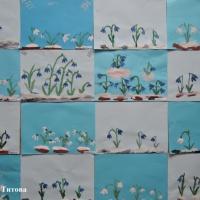 Фотоотчет о занятии по рисованию гуашью «Первые весенние цветы— подснежники»