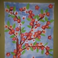 Фотоотчет коллективной работы детей по изготовлению объемной аппликации «Цветущая ветка яблони» с мастер-классом