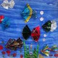 «Рыбки в аквариуме». Аппликация коллективная в нетрадиционной технике для детей старшего дошкольного возраста