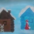 Конспект НОД по рисованию с элементами аппликации в средней группе «Избушка ледяная и лубяная»