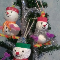 Мастер-класс по изготовлению игрушки на ёлку «Снеговик» из бросового материала