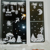 Новогоднее украшение на окна. 3D-фигурный домик и 3D елка
