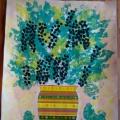 Мастер-класс «Сочной черемухи букет». Композиция в технике печати листьями и рисования пальчиками