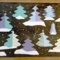 Коллективная работа «Волшебный зимний лес». Аппликация из бумаги для скрапбукинга
