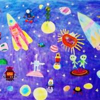 Фотоотчет о выполнении коллективного коллажа «Космические просторы»