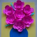 «Цветы в вазе». Объемная аппликация из цветной бумаги