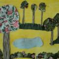Конспект НОД по продуктивной деятельности. Аппликация из ткани, наклеенной на картон «Весенний пейзаж»