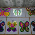 Детский мастер-класс по аппликации «Бабочки-красавицы в ярких, цветных платьицах»