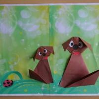 Детский мастер-класс по конструированию из бумаги «Собачка с маленьким щенком»