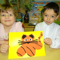 Детский мастер-класс по аппликации из бумаги «Тигрёнок»