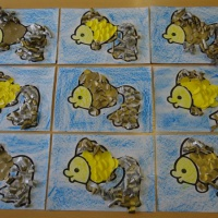 Фотоотчёт о занятии по аппликации «Золотая рыбка в подарок маме»