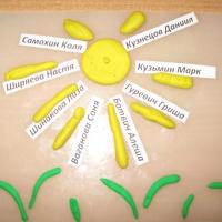 Оформление детских работ по итогам занятий по лепке в младшей группе детского сада
