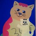 Аппликация из цветной бумаги «Кошечка». Мастер-класс