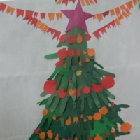 Коллективная работа из ладошек «Новогодняя поделка «С Новым годом!»