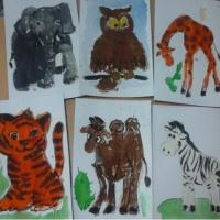 Фотоотчет. Нетрадиционная техника: рисование манкой и акварелью С. Я. Маршак «Детки в клетке»