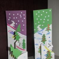 Детский мастер-класс «Изготовление новогодней открытки «Снежные горы»